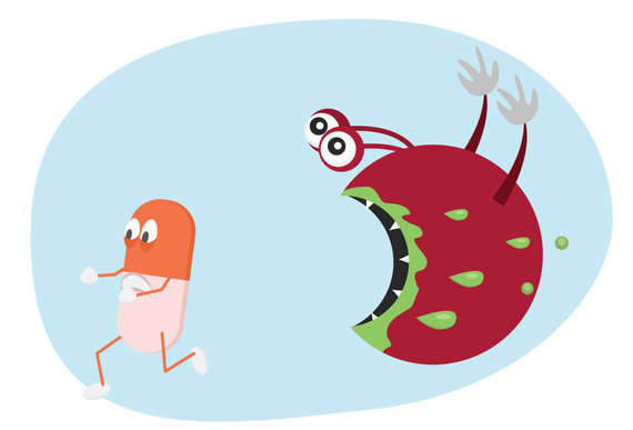 123RF.com nuotr./Taip karikatūristas įsivaizduoja antibiotikams atsparias bakterijas
