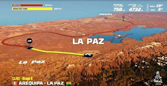 Organizatorių nuotr./Sausio 11 d. (ketvirtadienis). Arekipa–La Pasas. Bendra dienos rida: 758 km (greičio ruožai: 313 km)