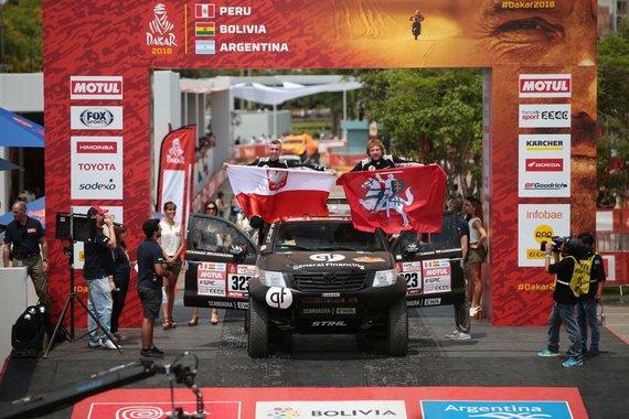 Edgaro Buiko nuotr./Sebastianas Rozwadowskis ir Benediktas Vanagas ant starto podiumo