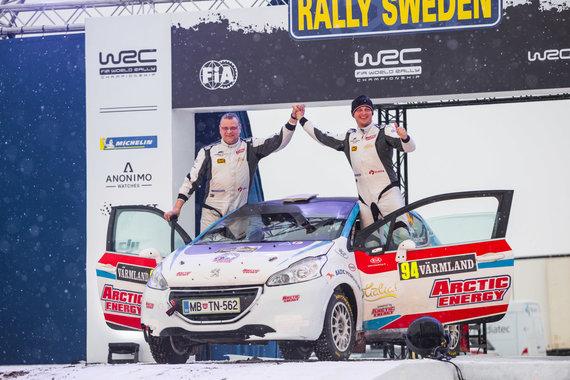 Aistės Kirsnytės nuotr./Donato Zvicevičiaus ir Deivido Jociaus antras finišas WRC Švedijoje