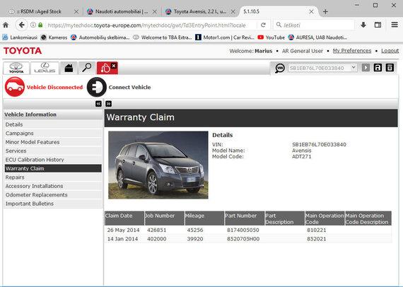 """""""Auresos"""" nuotr./""""Toyota Avensis"""" rida, užfiksuota """"Toyota"""" naudojamoje vidinėje sistemoje"""