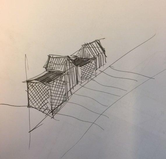 """Architekto Ryčio Kaminsko """"Aeronamų"""" brėžiniai"""