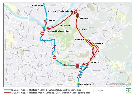 Vilniaus viešojo transporto nuotr./33 autobuso trasa
