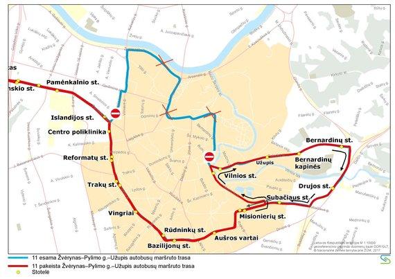 Vilniaus viešojo transporto nuotr./11 autobuso trasa