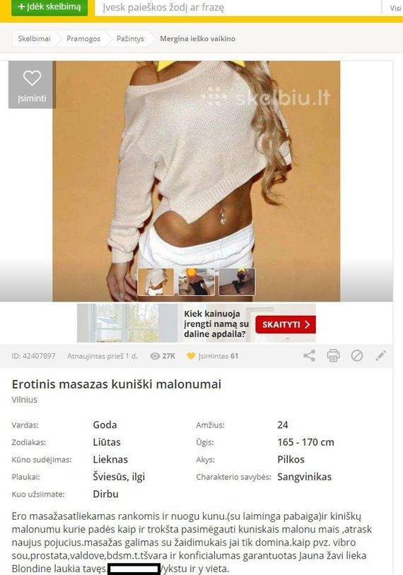 Interneto nuotr./Erotinį masažą siūlančiame skelbime – Monikos Šalčiūtės nuotraukos