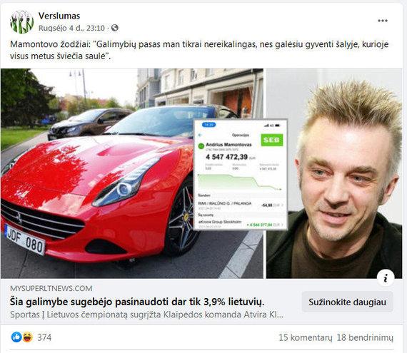 Stopkadras/Andriaus Mamontovo vardu naudojasi internetiniai sukčiai