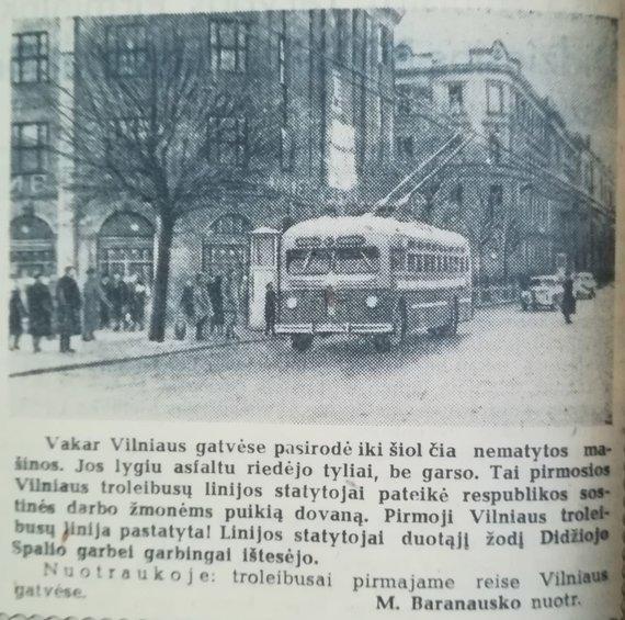 R.Žickaus asmeninio archyvo nuotr./Troleibusas 1956.11.07 Tiesa Nr. 262