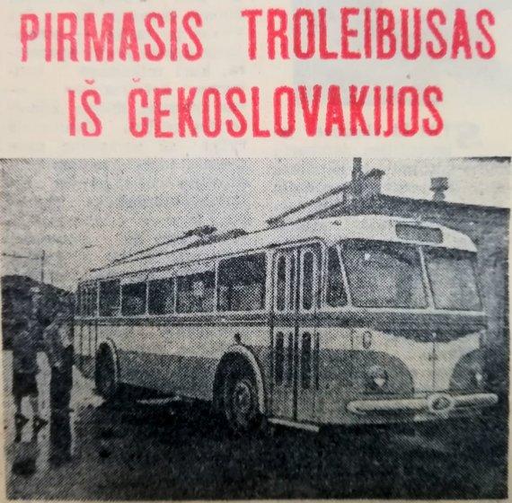R.Žickaus asmeninio archyvo nuotr./Troleibusas .1961.09.07 Vakarinės naujienos Nr. 213