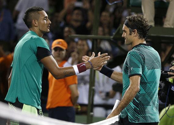 """""""Scanpix""""/AP nuotr./Nickas Kyrgiosas ir Rogeris Federeris"""
