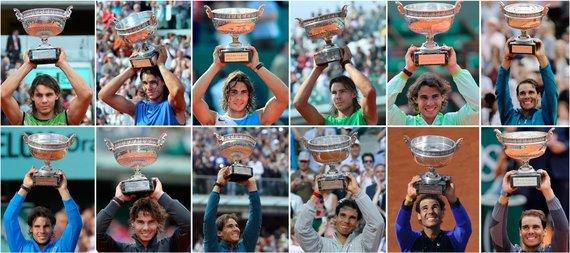 """AFP/""""Scanpix"""" nuotr./Visi dvylika Rafaelio Nadalio laimėtų """"Roland Garros"""" trofėjų"""