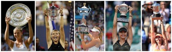 """AFP/""""Scanpix"""" nuotr./Visi penki Marijos Šarapovos iškovoti """"Didžiojo kirčio"""" trofėjai"""