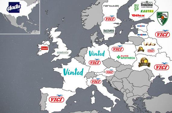 15min iliustracija/Populiariausi lietuviški prekės ženklai pagal šalis