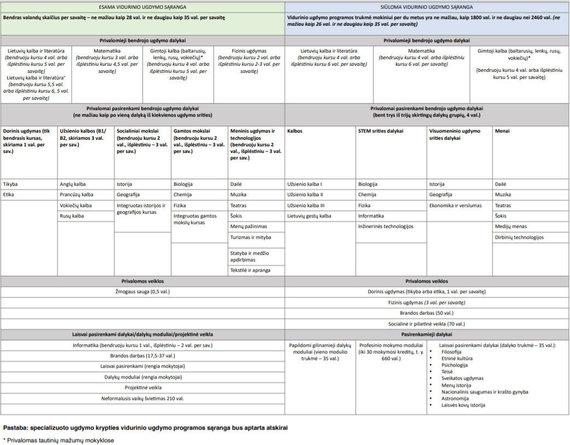 SMSM duomenys/ekrano nuotr. /Siūloma vidurinio ugdymo sąranga