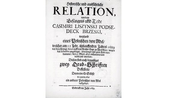 Viešo naudojimo nuotr./Reliacijos apie Kazimiero Liščinskio bylą titulinis puslais, atspausdintas 1689 metais.