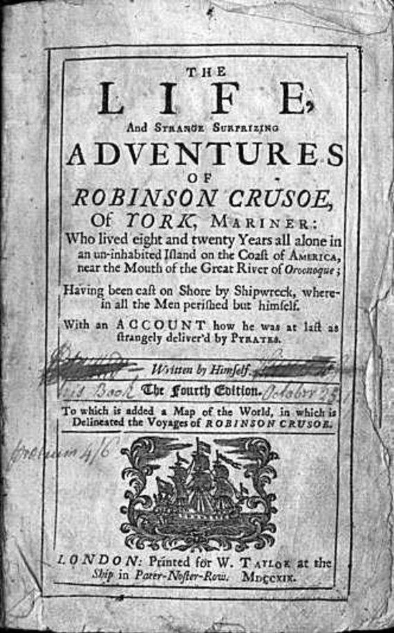 """XVIII a. """"Robinzono Kruzo"""" leidimas/""""Robinzono Kruzo"""" pirmasis puslapis"""