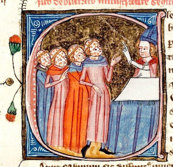 XIV a. Jameso Le Palmerio iliustracija/Raupsuotieji ir vyskupas