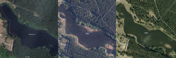 maps.lt, maps.google.com nuotraukos/Skirtingais metais darytos Radžiūnų Ežero nuotraukos