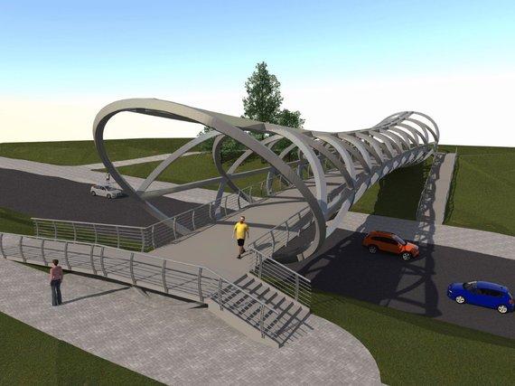 Projekto vizualizacija/Pėsčiųjų ir dviratininkų tiltas per judrią Žeimių gatvę