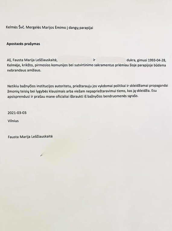 Asmeninio albumo nuotr./Faustos Marijos Leščiauskaitės apostazės prašymas