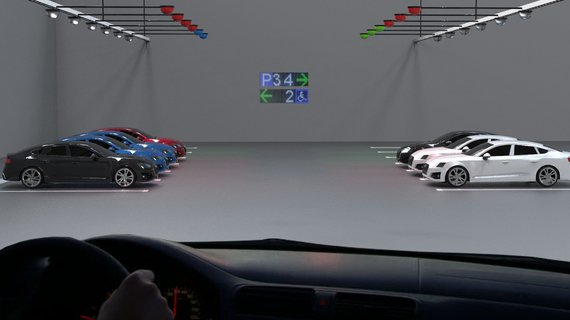 Car parking guidance system for an indoor parking lot with ultrasound sensors with remote indicators. A single sensor monitors the use of a single parking space and transmits it to the Parksol system.