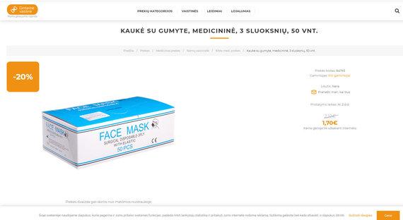 Parduodamos medicininės veido kaukės