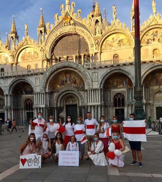 Baltarusių bendruomenės Italijoje nuotr./Laisvės kelias Peskjera del Garda, Bolonijoje, Livorne, Venecijoje