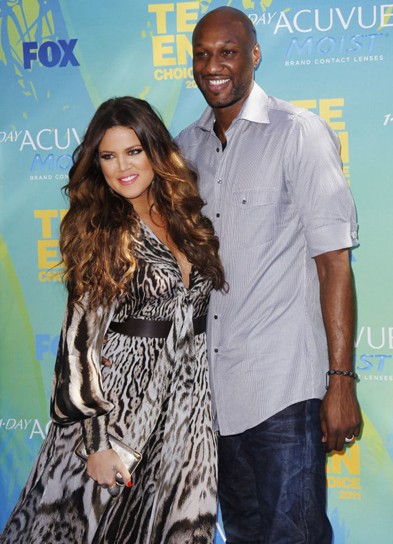 """Scanpix"" nuotr./Khloe Kardashian su NBA krepšininku Lamaru Odomu"
