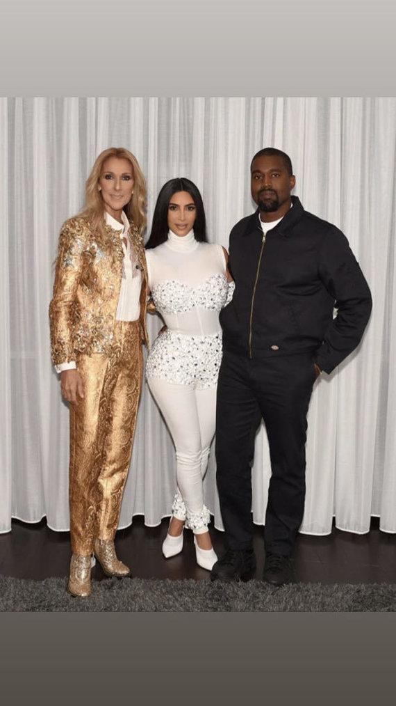 """""""Instagram"""" nuotr./Celine Dion, Kim Kardashian ir Kanye Westas"""
