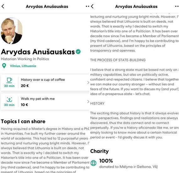 """15min nuotr./Arvydo Anušausko paskyra """"HumansApp"""" programėlėje"""