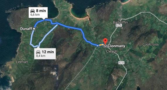 15min nuotr./Atstumas tarp Dunaffo ir Klonmanio