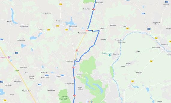 Google Maps iliustr./Kelias Utena-Vilnius