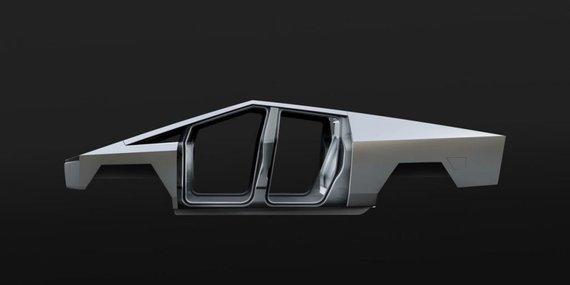 Tesla Cybertruck yra pagamintas iš nerūdijančio plieno, tačiau jis naudojamas tik egzoskelete. (Gamintojo nuotrauka)
