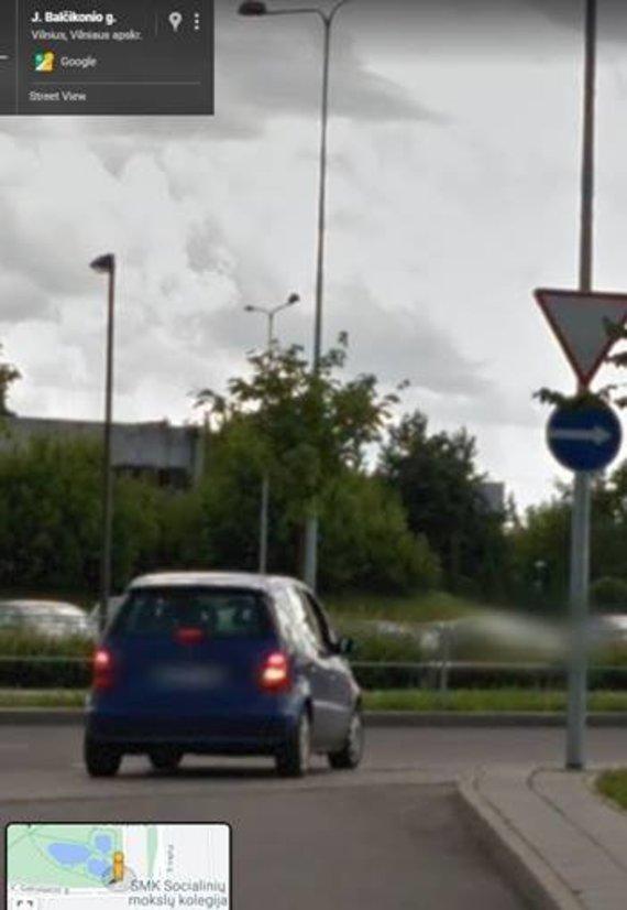 """""""Google Maps"""" vaizdas/Išvažiavimas į V.Gerulaičio gatvę"""