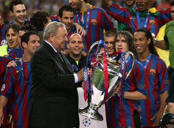 Photo by Scanpix / Charles Puyolis with the UEFA Champions League Cup