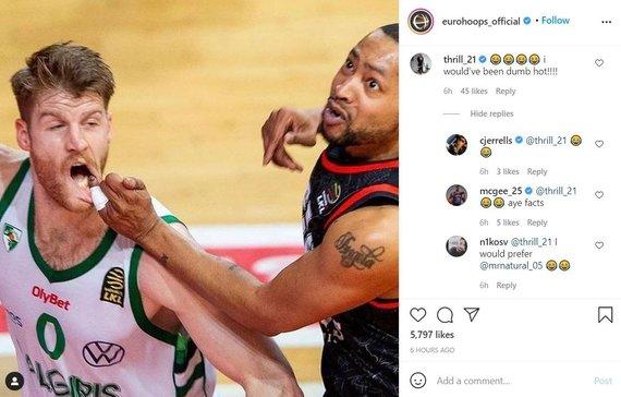 """""""Eurohoops"""" """"Instagram""""/Europos krepšinio žvaigždės aptarinėja kadrą iš LKL rungtynių"""
