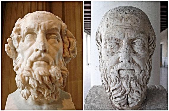 Wikipedia.org/Homero ir Herodoto biustai