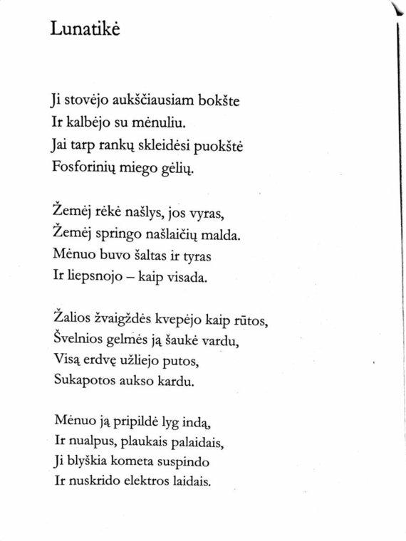 """Iš rinkinio """"Visi eilėraščiai""""/Henriko Radausko eilėraštis """"Lunatikė"""""""