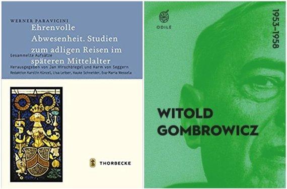 """Knygų viršeliai/Wernerio Paravicinio""""Ehrenvolle Abwesenheit"""" ir Witoldo Gombrowicziaus dienoraštis"""