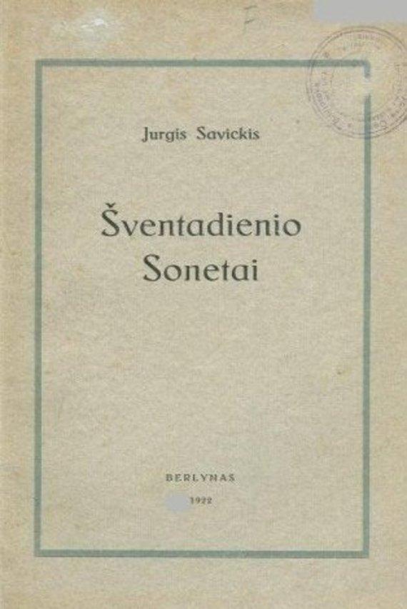 """Knygos viršelis/Jurgio Savickio """"Šventadienio sonetai"""""""