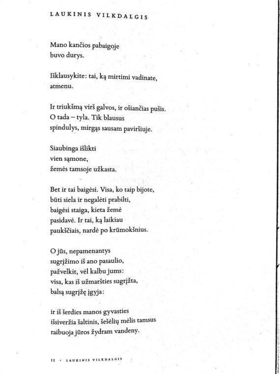 """Ištrauka iš knygos/Eilėraštis """"Laukinis vilkdalgis"""""""