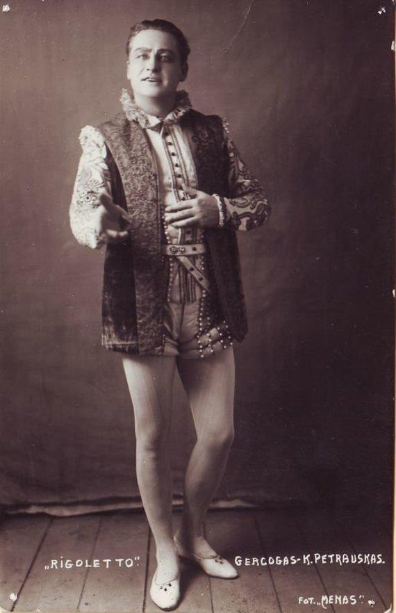 """""""Europeana"""" nuotr./Mantujos Hercogas – Kipras Petrauskas G. Verdi """"Rigoletas"""". 1932 m."""