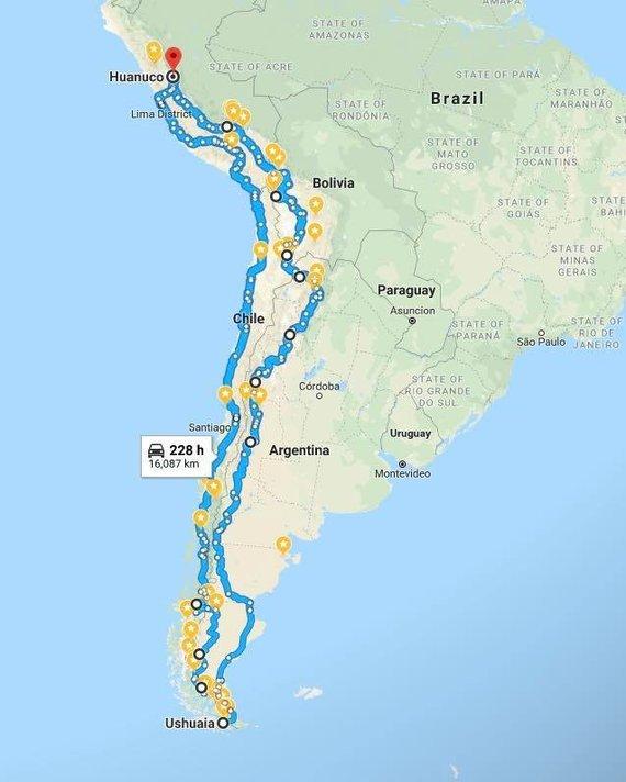 Iš asmeninės paskyros feisbuke/Kelionės per Pietų Ameriką maršrutas