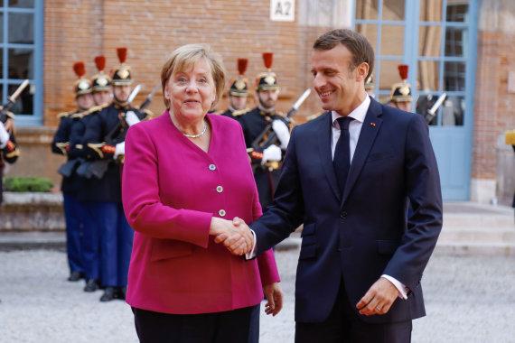 """Scanpix""/""Sipa USA"" nuotr./A.ngela Merkel ir Emmanuelis Macronas"