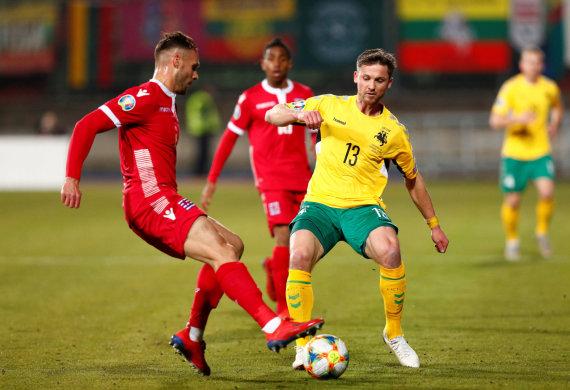 """""""Reuters""""/""""Scanpix"""" nuotr./Liuksemburgas 2:1 įveikė Lietuvos futbolo rinktinę, kurioje neprastai atrodė Saulius Mikoliūnas."""