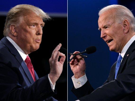 """AFP/""""Scanpix"""" nuotr./Donaldas Trumpas ir Joe Bidenas"""