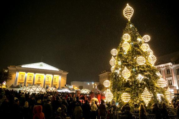 Juliaus Kalinsko / 15min nuotr./Kalėdų eglė Rotušės aikštėje Vilniuje