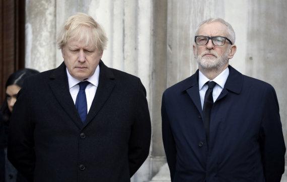 """""""Scanpix""""/AP nuotr./Borisas Johnsonas ir Jeremy Corbynas"""