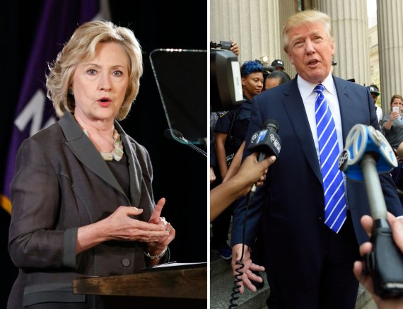 """""""Reuters""""/""""Scanpix"""" nuotr./H.Clinton ir D.Trumpas"""