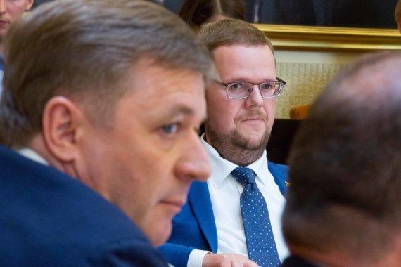 Žygimanto Gedvilos / 15min nuotr./Ramūnas Karbauskis ir Justas Džiugelis
