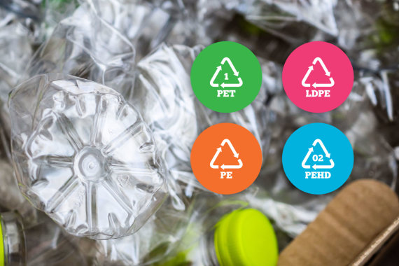 123RF.com nuotr./Plastiko pakuočių perdirbimo ženklinimas